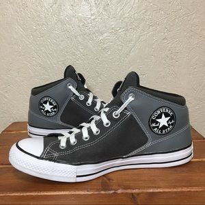 Men's High Top Leather Back Grey Converse Sneakers